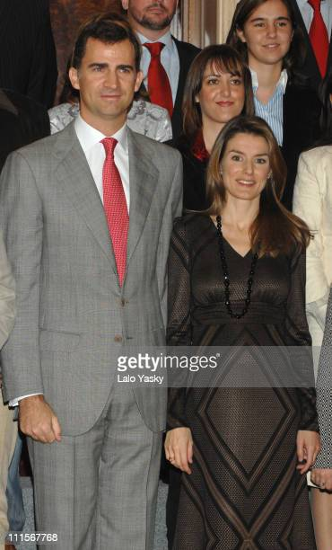 Prince Felipe and Princess Letizia during TRH Prince Felipe and Princess Letizia Attend Official Audiences at the Zarzuela Palace in Madrid at...