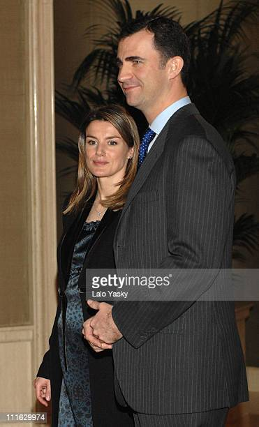 TRH Prince Felipe and Princess Letizia during TRH Princess Letizia and Prince Felipe Attend Official Audiences February 22 2007 at Palacio de la...