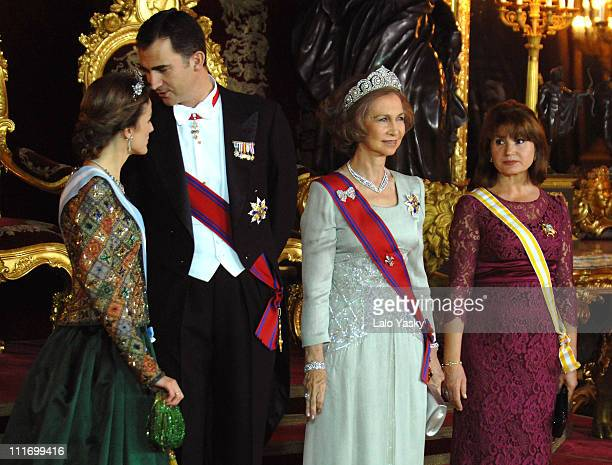 TRH Prince Felipe and Princess Letizia HM Queen Sofia and Maria Basescu pose for photographers during the Gala Dinner in honour of Romanian President...