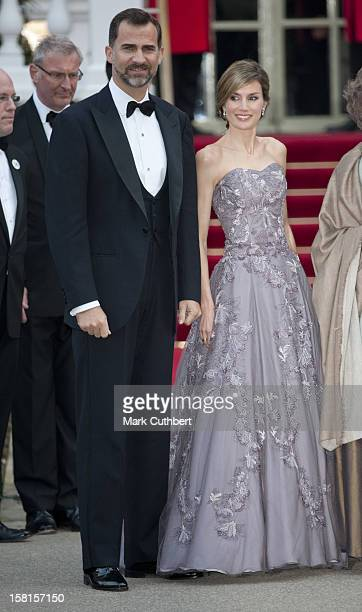 Prince Felipe And Princess Letizia Of Spain Attend A Pre Wedding Party At The Mandarin Oriental Hotel The Evening Before The Wedding Of Prince...