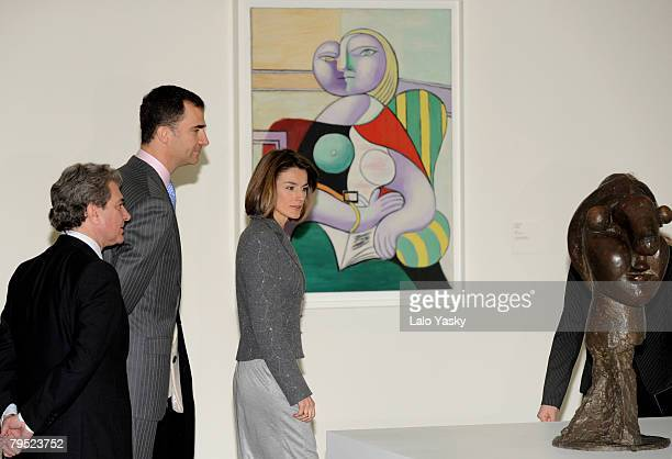 Prince Felipe and Princess Letizia of Spain attend the opening of La coleccion del Museo Nacional Picasso Par's at Reina Sofia Museum on Febraury 5...
