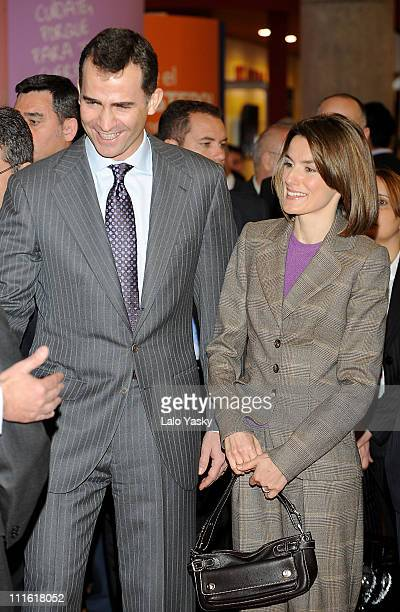 Prince Felipe and Princess Letizia of Spain attend the opening of the gastronomic international fair 'Alimentaria 2008' at the Fira on March 10 2008...