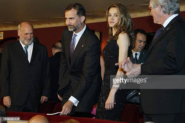 Prince Felipe and Princess Letizia of Spain Chairman of the Board of Trustees of the Lieco Joaquim Molins and Mayor of Barcelona Xavier Trias attend...