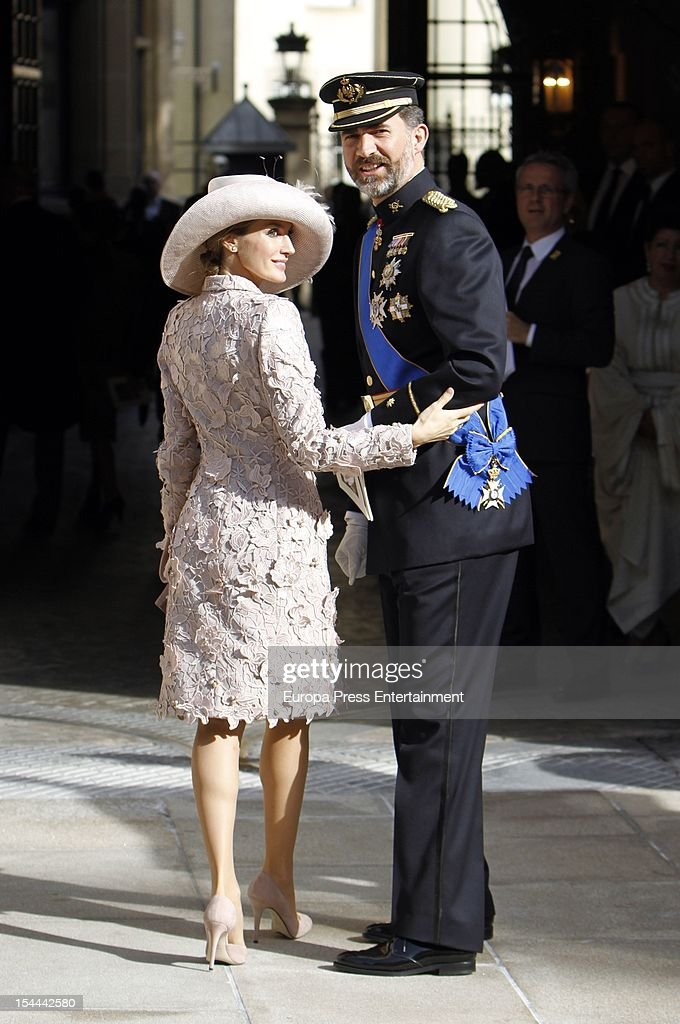Prince Felipe and Princess <a gi-track='captionPersonalityLinkClicked' href=/galleries/search?phrase=Letizia+of+Spain&family=editorial&specificpeople=158373 ng-click='$event.stopPropagation()'>Letizia of Spain</a> during the wedding ceremony of Prince Guillaume Of Luxembourg and Countess Stephanie de Lannoy at the Cathedral of our Lady of Luxembourg on October 20, 2012 in Luxembourg, Luxembourg. The 30-year-old hereditary Grand Duke of Luxembourg is the last hereditary Prince in Europe to get married, marrying his 28-year old Belgian Countess bride in a lavish 2-day ceremony.