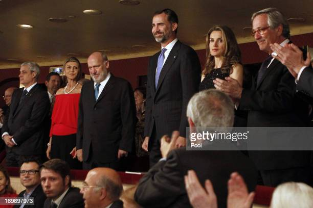 Prince Felipe and Princess Letizia of Spain Mayor of Barcelona Xavier Trias Chairman of the Board of Trustees of the Lieco Joaquim Molins attend the...