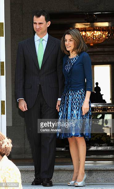 Prince Felipe and Princess Letizia of Spain receive Prince Albert of Moncao at the Zarzuela Palace on June 25 2008 in Madrid Spain