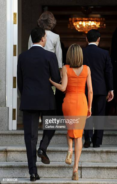 Prince Felipe and Princess Letizia of Spain receive the Crown Prince Naruhito of Japan at the Zarzuela Palace Palace on July 17 2008 in Madrid Spain