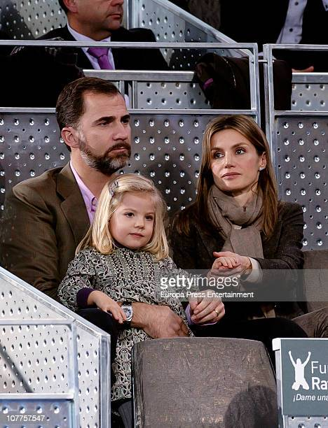 Prince Felipe and Princess Letizia with daughter Princess Sofia attend Rafael Nadal and Roger Federer's charity match at La Caja Magica on December...