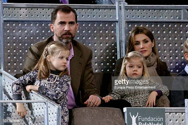 Prince Felipe and Princess Letizia with daughters Princess Leonor and Princess Sofia attend Rafael Nadal and Roger Federer's charity match at La Caja...