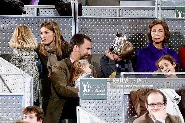Prince Felipe and Princess Letizia with daughters Princess Leonor and Princess Sofia Miguel Urdangarin Queen Sofia and Victoria Federica attend...
