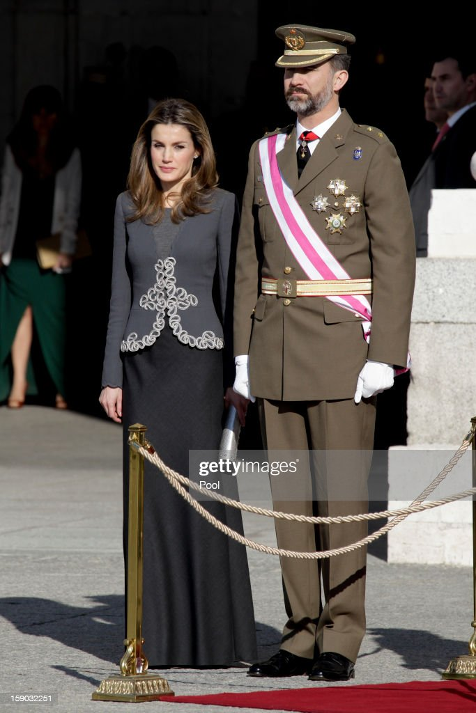 Prince Felipe de Borbon and Princess Letizia Ortiz attend the new year's military parade at the Royal Palace on January 6, 2013 in Madrid, Spain.