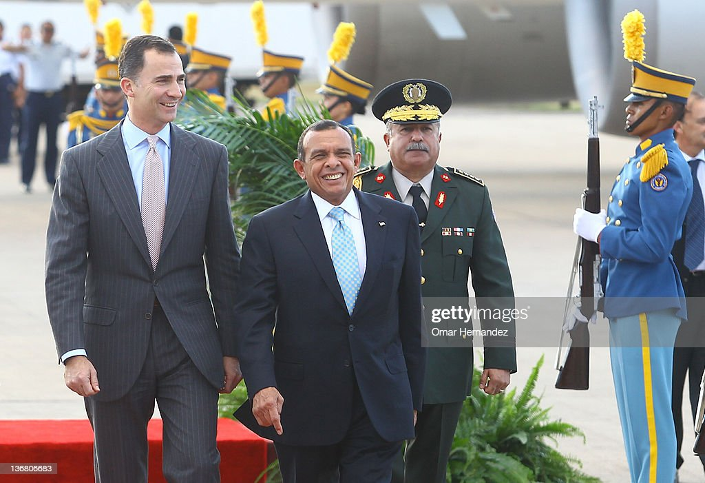 Prince Felipe de Borbon meets the president Porfirio Lobo Sosa and his wife Rosa Elena de Lobo during his visit to Honduras on January 11 2012 in...