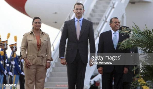 Prince Felipe de Borbon meets the president Porfirio Lobo Sosa and his wife Rosa Elena de Lobo during his visit to Honduras on January 11 2012 in...