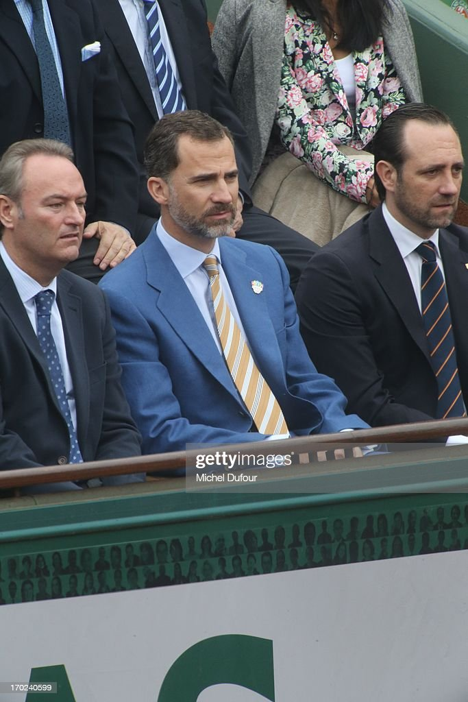 SAR Prince Felipe des Asturies seen as Celebrities At French Open 2013 - Day 15 at Roland Garros on June 9, 2013 in Paris, France.
