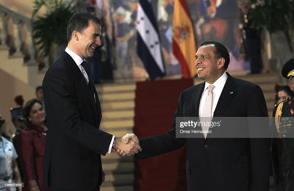Prince Felipe meets Porfirio Lobo Sosa president of Honduras during his visit to Honduras on January 11 2012 in Tegucigalpa Honduras