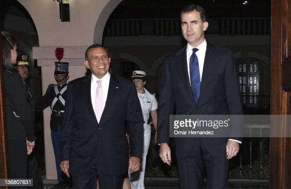 Prince Felipe meets Porfirio Lobo Sosa president of Honduras during his visit to Honduras on January 11 2012 in Tegucigalpa Honduras