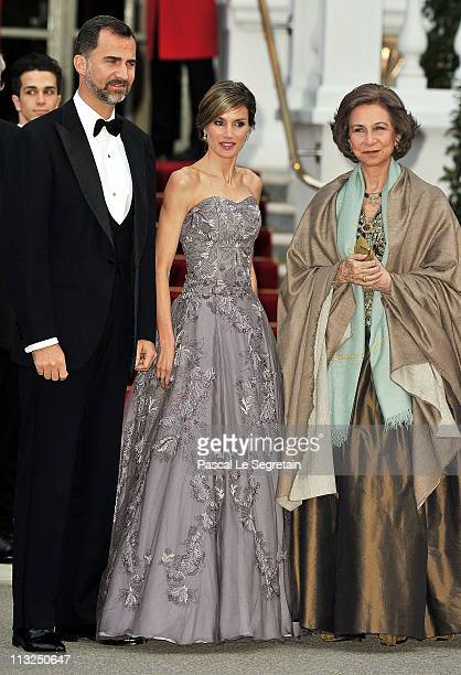 Prince Felipe of Asturias Princess Letizia of Asturias and Queen Sofia of Spain attend a gala prewedding dinner held at the Mandarin Oriental Hyde...