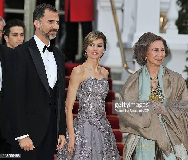 Prince Felipe of Asturias Princess Letizia of Asturias and Queen Sofia of Spain attend a gala PreWedding dinner on the eve of the Royal Wedding of...