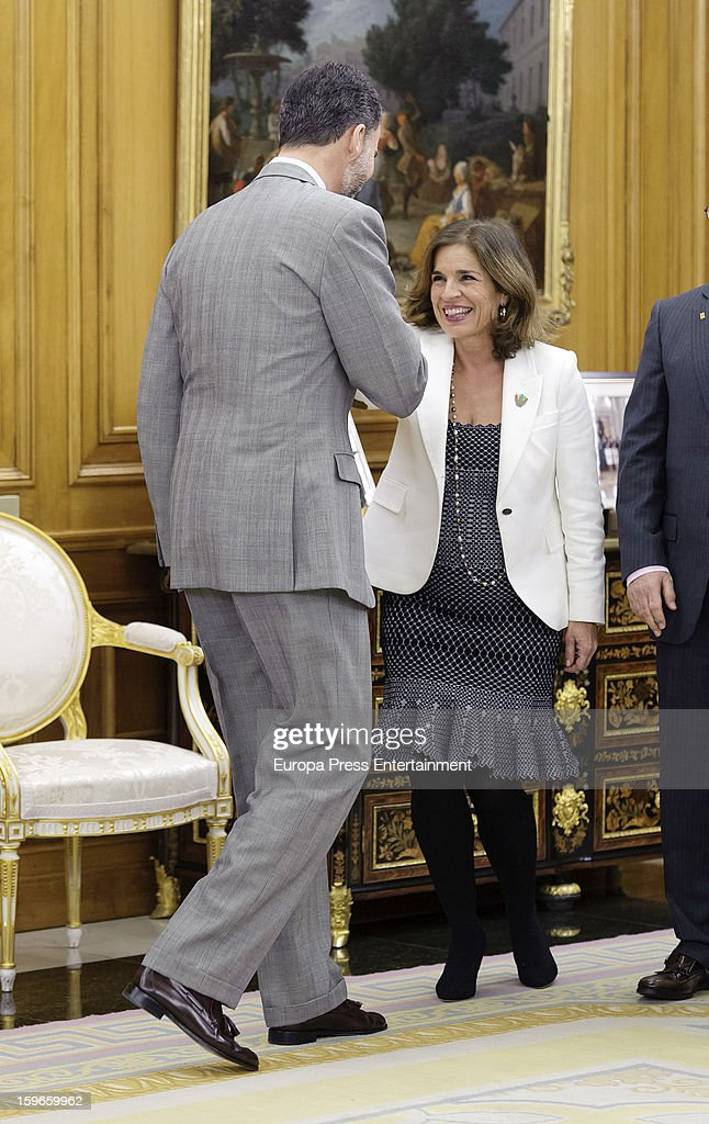 Prince Felipe of Spain and Ana Botella attend audiences to Spanish olympic delegation and receives Madrid bid files at Zarzuela Palace on January 17, 2013 in Madrid, Spain. Madrid is one of the three candidate cities to host the 2020 Olympics Games.