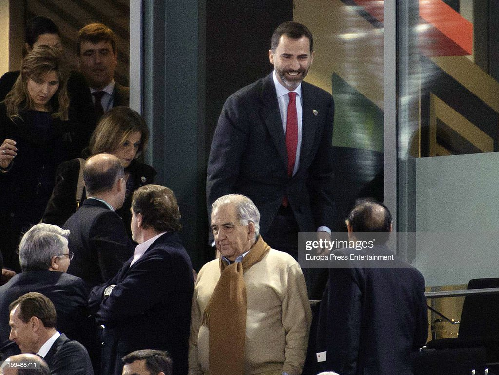 Prince Felipe of Spain and Ana Botella attend the 2013 World Men's Handball Championship Opening on January 11, 2013 in Madrid, Spain.