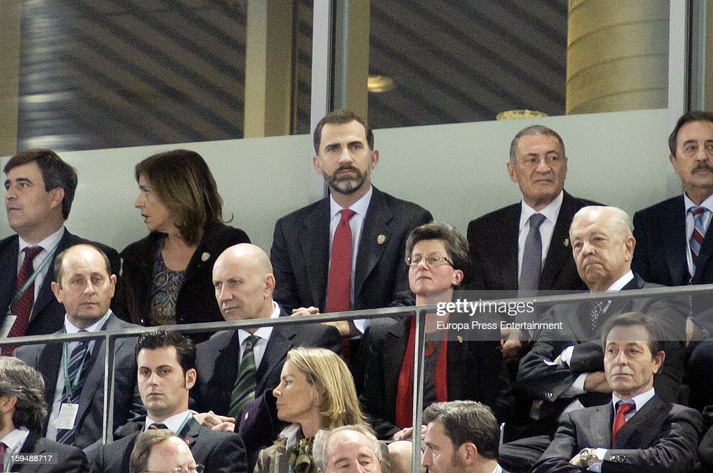 Prince Felipe of Spain (C) and <a gi-track='captionPersonalityLinkClicked' href=/galleries/search?phrase=Ana+Botella&family=editorial&specificpeople=235432 ng-click='$event.stopPropagation()'>Ana Botella</a> (2L) attend the 2013 World Men's Handball Championship Opening on January 11, 2013 in Madrid, Spain.