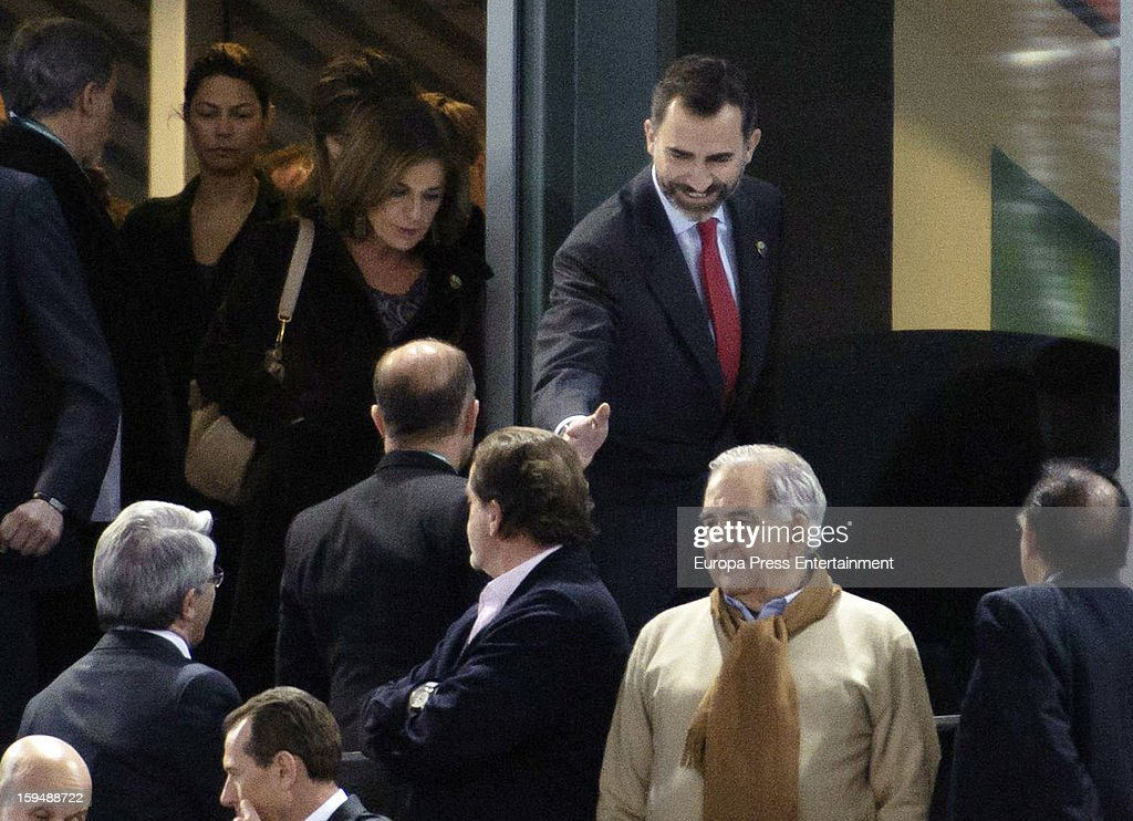 Prince Felipe of Spain and <a gi-track='captionPersonalityLinkClicked' href=/galleries/search?phrase=Ana+Botella&family=editorial&specificpeople=235432 ng-click='$event.stopPropagation()'>Ana Botella</a> attend the 2013 World Men's Handball Championship Opening on January 11, 2013 in Madrid, Spain.