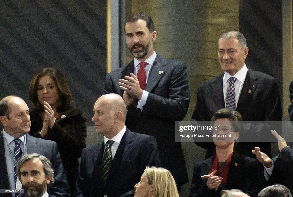 Prince Felipe of Spain (C top) and Ana Botella (L top) attend the 2013 World Men's Handball Championship Opening on January 11, 2013 in Madrid, Spain.