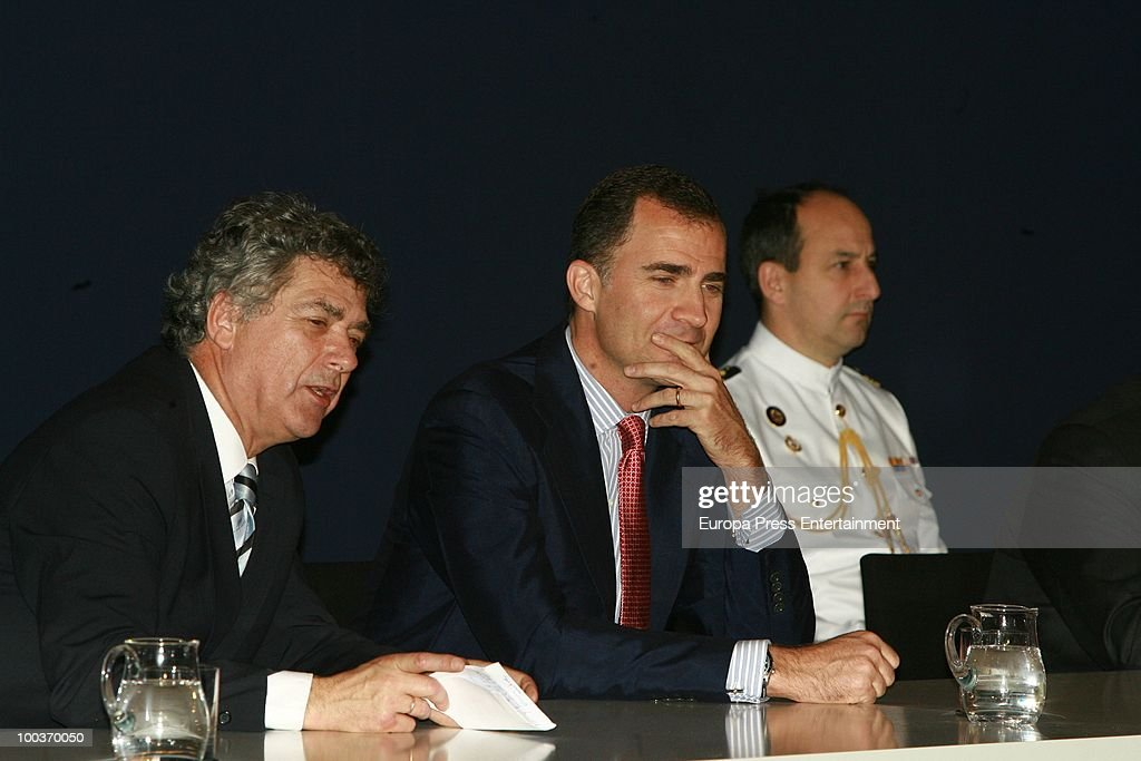 Prince Felipe of Spain (C) and Angel Maria Villar attend the opening of the Spanish Football Federation Museum on May 24, 2010 in Madrid, Spain.