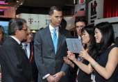 Prince Felipe of Spain and Artur Mas attend the opening of GSMA Mobile World Congress 2014 on February 24 2014 in Barcelona Spain
