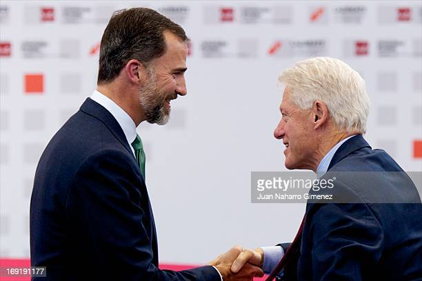 Prince Felipe of Spain and Bill Clinton attend 'Laureate Summit On Youth And Jobs' at Universidad Europea on May 21 2013 in Madrid Spain