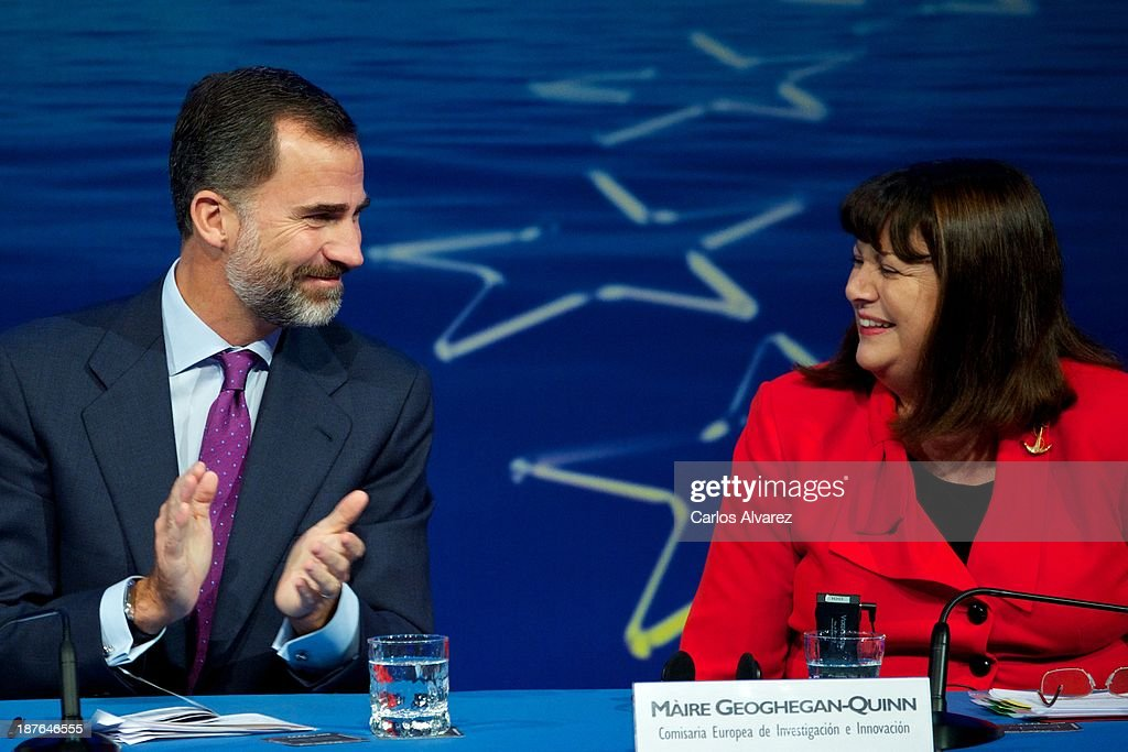 Prince Felipe of Spain (L) and EU commissioner for Research, Innovation and Science <a gi-track='captionPersonalityLinkClicked' href=/galleries/search?phrase=Maire+Geoghegan-Quinn&family=editorial&specificpeople=6730937 ng-click='$event.stopPropagation()'>Maire Geoghegan-Quinn</a> (R) attend the opening of the '7th Conference Program For Research And Innovation Framework Of The European Union. Horizon 2020 Knowledge To Innovation' at the Auditorium Hotel on November 11, 2013 in Madrid, Spain.
