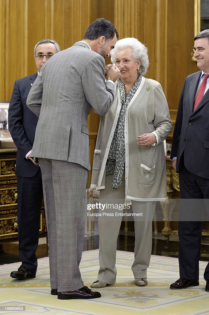 Prince Felipe of Spain and his aunt Princess Pilar of Borbon during the audience to Spanish olympic delegation and receives Madrid bid files at Zarzuela Palace on January 17, 2013 in Madrid, Spain. Madrid is one of the three candidate cities to host the 2020 Olympics Games.