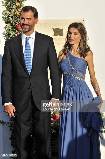 Prince Felipe of Spain and his wife Princess Letizia arrive for the wedding of Nicolas the second son of Greece's former king Constantine and Tatiana...