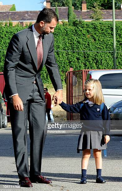 Prince Felipe of Spain and Infanta Leonor arrive at 'Santa Maria de los Rosales' School on September 15 2010 in Madrid Spain