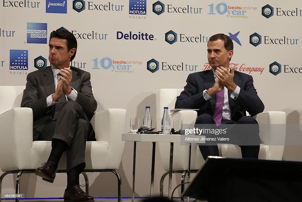 Prince Felipe of Spain (R) and Jose Manuel Soria, minister of tourism, attends the '7Th Leadership Forum of Tourism Exceltur' in Madrid  at Ifema on January 21, 2014 in Madrid, Spain.
