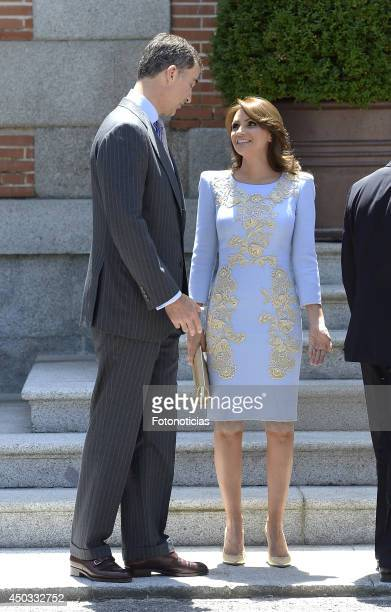 Prince Felipe of Spain and Mexican President's wife Angelica Rivera pose for photographers at Zarzuela Palace on June 9 2014 in Madrid Spain