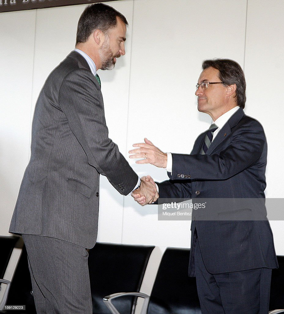 Prince Felipe of Spain and President of Catalonia Artur Mas at Barcelona Sants train station during the inauguration of the AVE high-speed train line between Barcelona and the French border on January 8, 2013 in Barcelona, Spain.