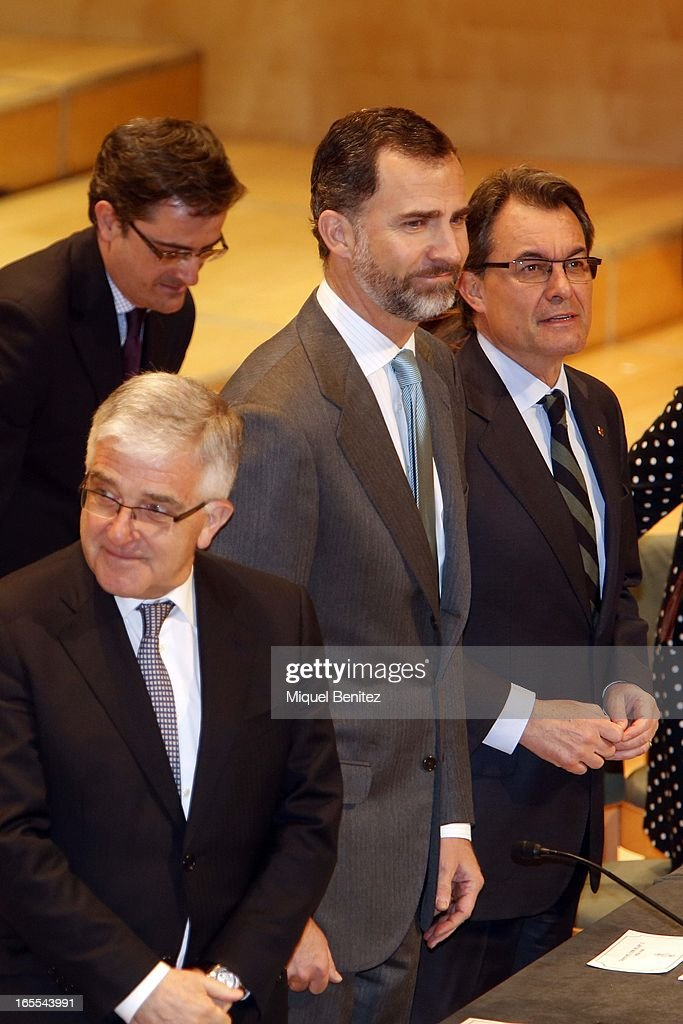Prince Felipe of Spain and President of the Catalan regional government <a gi-track='captionPersonalityLinkClicked' href=/galleries/search?phrase=Artur+Mas&family=editorial&specificpeople=712829 ng-click='$event.stopPropagation()'>Artur Mas</a> attend a ceremony for recently graduated judges at the Auditori on April 4, 2013 in Barcelona, Spain.