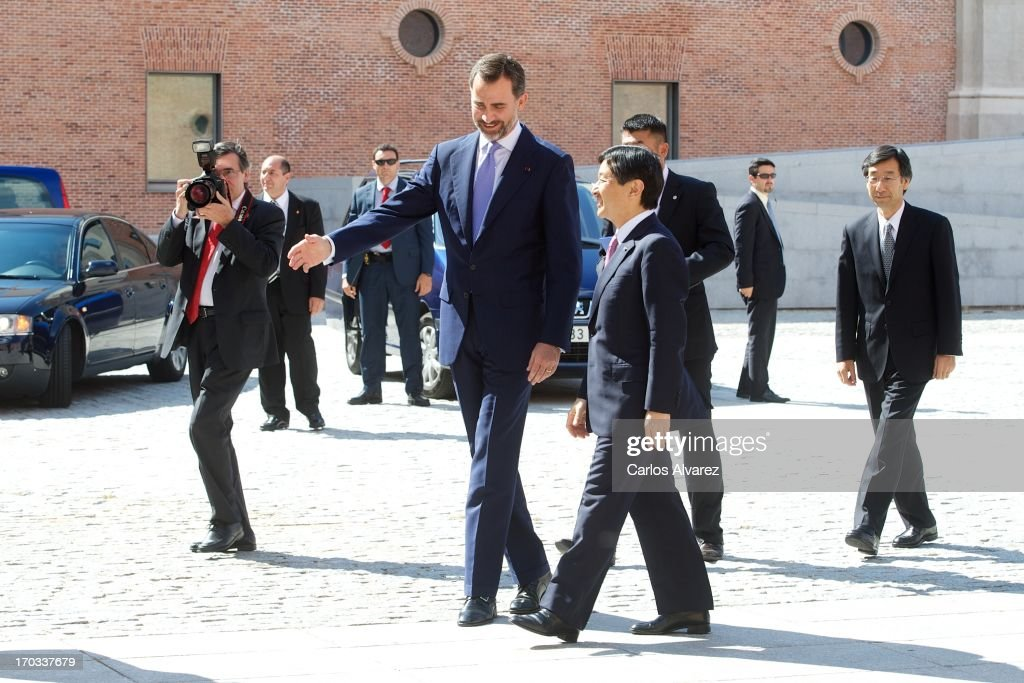 Prince Felipe of Spain (L) and Prince Naruhito of Japan (R) attend the 'Tsunami' exhibition at the Conde Duque cultural center on day two of a six day visit to Spain on June 11, 2013 in Madrid Spain. Japanese <a gi-track='captionPersonalityLinkClicked' href=/galleries/search?phrase=Crown+Prince+Naruhito&family=editorial&specificpeople=158365 ng-click='$event.stopPropagation()'>Crown Prince Naruhito</a> is on a six-day official visit to Spain to mark the 400th anniversary of bilateral ties between the nations.