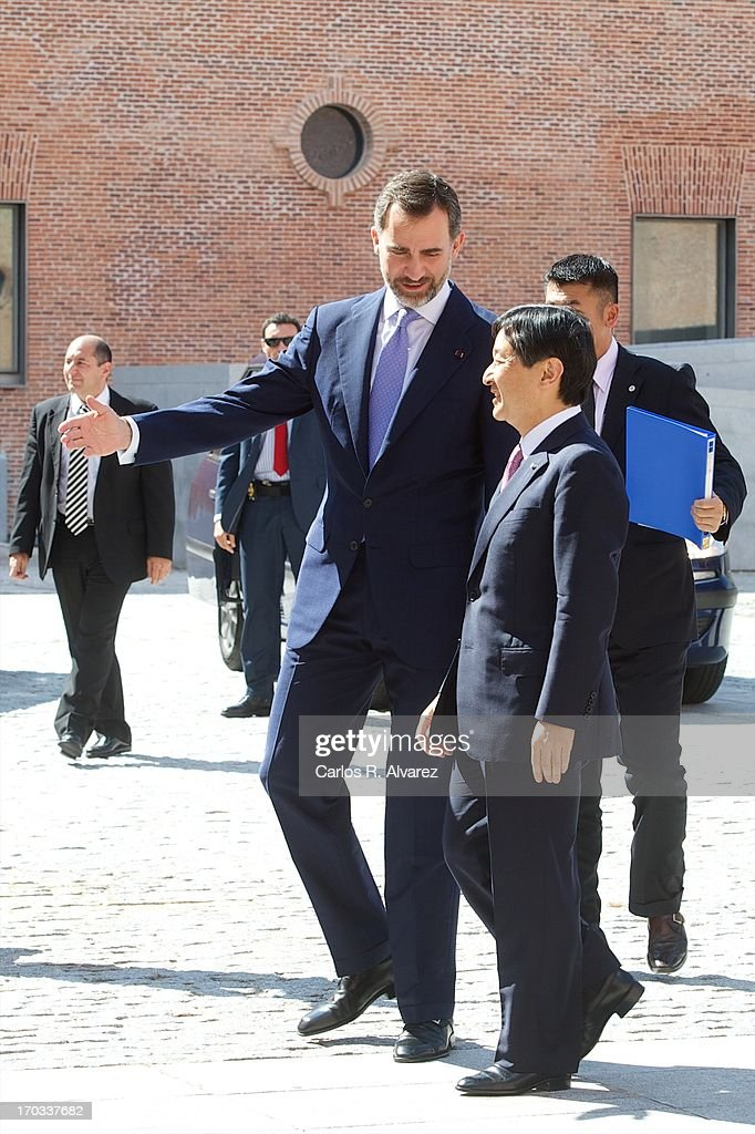 Prince Felipe of Spain (L) and Prince Naruhito of Japan (R) attend the 'Tsunami' exhibition at the Conde Duque cultural center on day two of a six day visit to Spain on June 11, 2013 in Madrid Spain. Japanese Crown Prince Naruhito is on a six-day official visit to Spain to mark the 400th anniversary of bilateral ties between the nations.