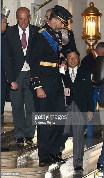 Prince Felipe of Spain and Prince Naruhito of Japan leave after the wedding ceremony of Prince Guillaume of Luxembourg and Princess Stephanie of...