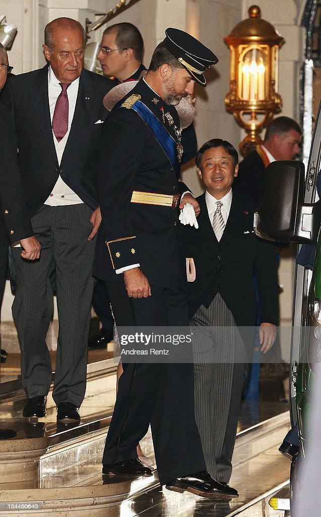 Prince Felipe of Spain and Prince Naruhito of Japan leave after the wedding ceremony of Prince Guillaume of Luxembourg and Princess Stephanie of Luxembourg at the Cathedral of our Lady of Luxembourg on October 20, 2012 in Luxembourg, Luxembourg. The 30-year-old hereditary Grand Duke of Luxembourg is the last hereditary Prince in Europe to get married, marrying his 28-year old Belgian Countess bride in a lavish 2-day ceremony.