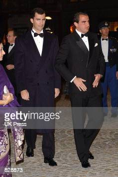 Prince Felipe of Spain and Prince Nicklaos of Greece attend a dinner and party at the Royal Palace in honor of the wedding of Dutch Crown Prince...