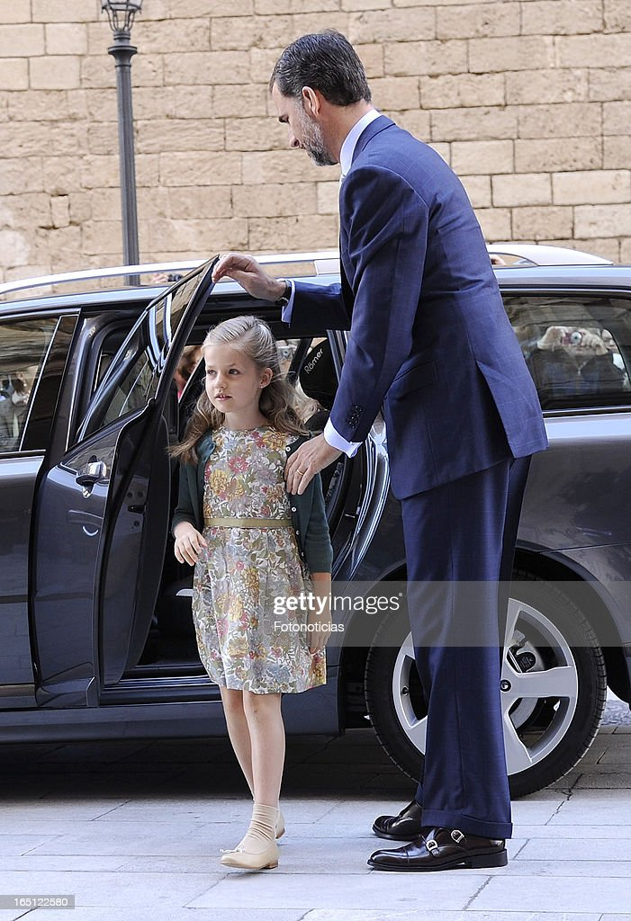 Prince Felipe of Spain and Princes Leonor of Spain attend Easter Mass at The Cathedral of Palma de Mallorca on March 31, 2013 in Palma de Mallorca, Spain.