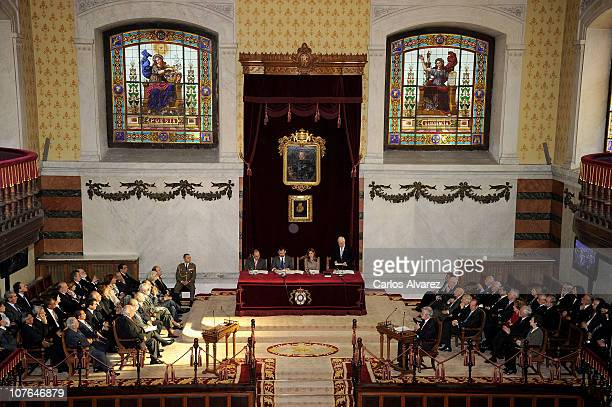 Prince Felipe of Spain and Princes Letizia of Spain attend the presentation of the new spelling of Spanish Language at The Real Academia de la Lengua...