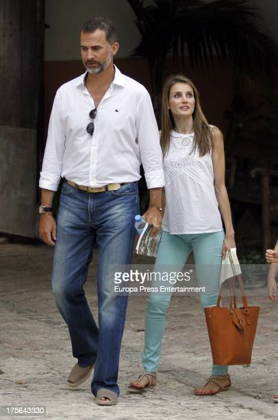 Prince Felipe of Spain and Princess Letizia are seen going for a walk during their holidays on August 5 2013 in Mallorca Spain