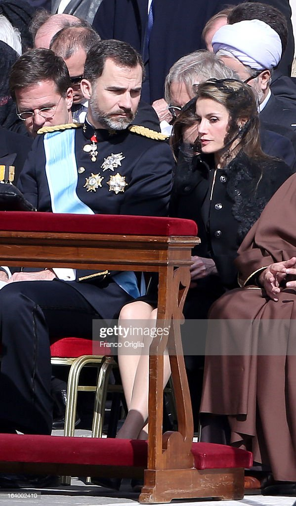 Prince Felipe of Spain and Princess Letizia attend the Inauguration Mass of Pope Francis in St. Peter's Square for his Inauguration Mass on March 19, 2013 in Vatican City, Vatican. The inauguration of Pope Francis is being held in front of an expected crowd of up to one million pilgrims and faithful who have crowded into St Peter's Square and the surrounding streets to see the former Cardinal of Buenos Aires officially take up his position. Pope Francis' inauguration takes place in front his cardinals, spiritual leaders as well as heads of states from around the world and he will now lead an estimated 1.3 billion Catholics.
