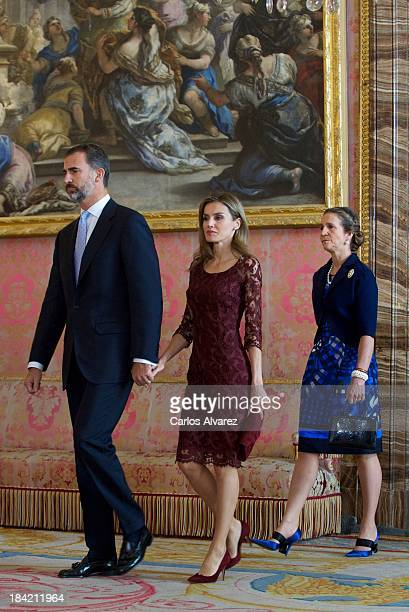 Prince Felipe of Spain and Princess Letizia of Spain and Princess Elena of Spain attend Spain's National Day Royal Reception at the Zarzuela Palace...