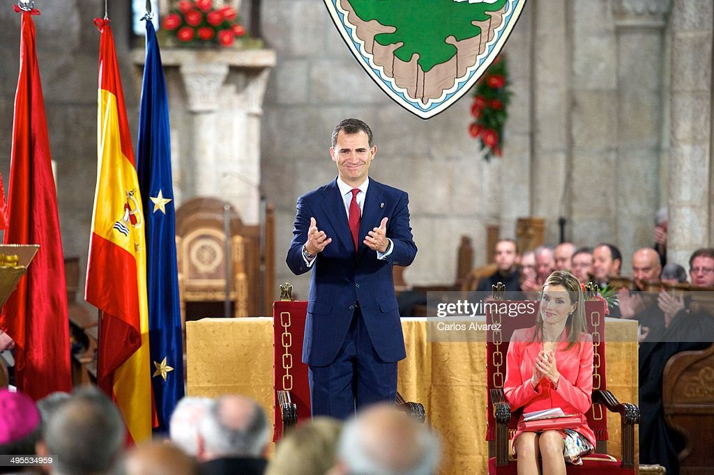 Prince Felipe of Spain and Princess Letizia of Spain appear for the first time since the announcement of King Juan Carlos of Spain abdication as they...