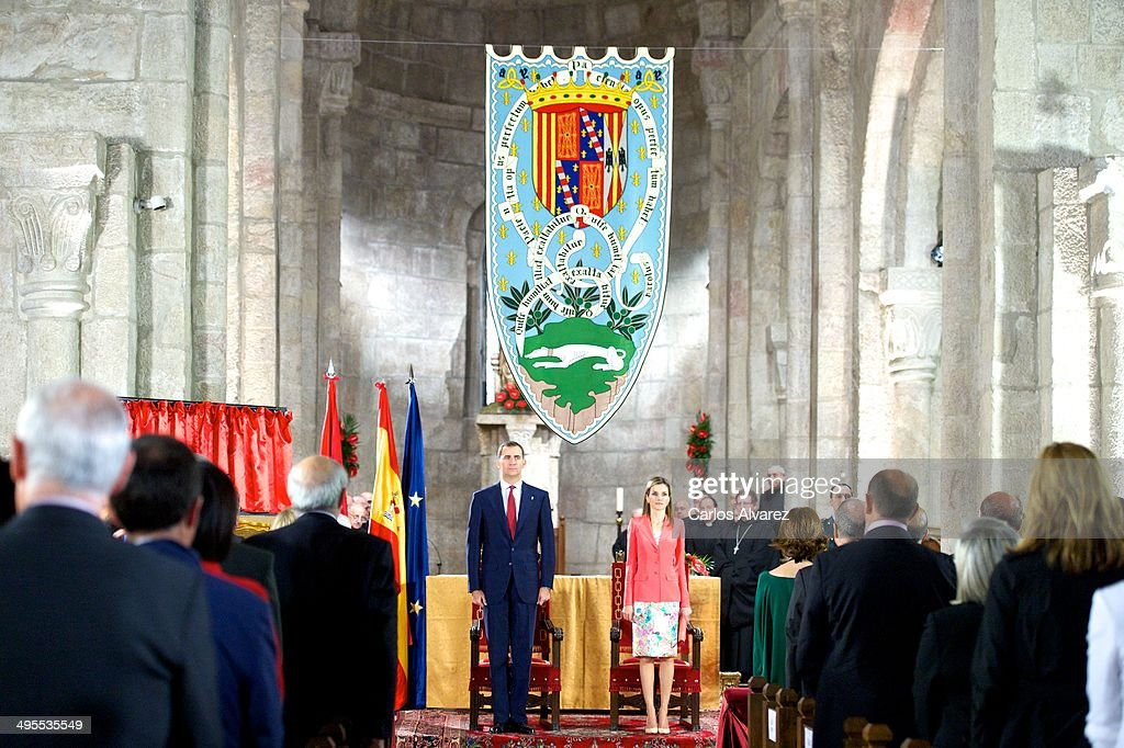 Prince Felipe of Spain and Princess <a gi-track='captionPersonalityLinkClicked' href=/galleries/search?phrase=Letizia+of+Spain&family=editorial&specificpeople=158373 ng-click='$event.stopPropagation()'>Letizia of Spain</a> (C) appear for the first time since the announcement of King Juan Carlos of Spain abdication as they attend the 'Prince de Viana' award 2014 at the San Salvador de Leyre Monastery on June 4, 2014 in Navarra, Spain.